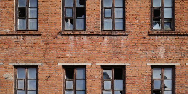 broken windows, brick building