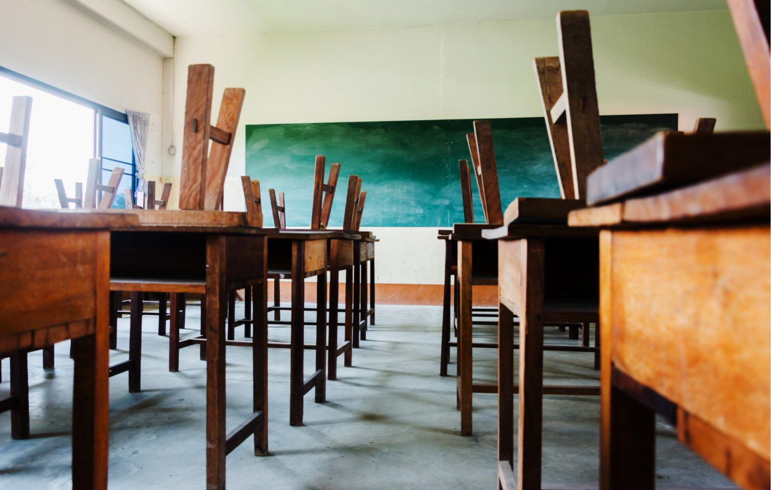 chairs up, school